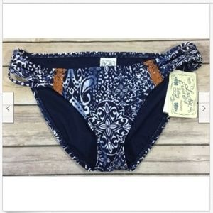 Lucky Brand Batik Embroidered Bikini Swim Bottoms